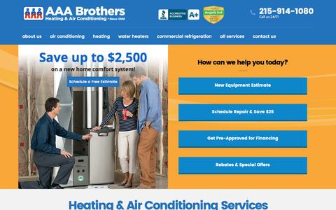 Screenshot of Home Page aaabrothers.com - Air Conditioner, Furnace Repair Service - AAA Brothers - captured Nov. 19, 2016