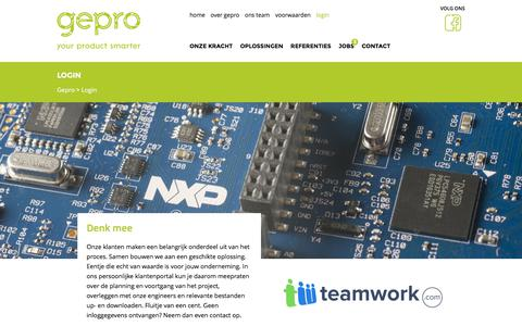 Screenshot of Login Page gepro-electronics.nl - Login - Gepro Electronics - captured July 14, 2018