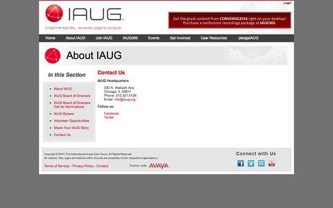 Screenshot of Contact Page iaug.org - International Avaya Users Group : Contact Us - captured Sept. 23, 2014