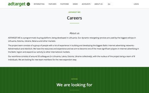 Screenshot of Jobs Page adtarget.me - adtarget.me | Self Service Retargeting Platform - captured Nov. 19, 2016