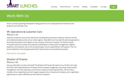 Screenshot of Jobs Page smartlunches.com - Smart Lunches | Jobs - captured Oct. 28, 2014