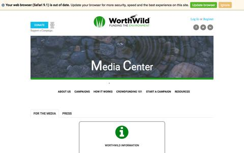 Screenshot of Press Page worthwild.com - Press & Assets | WorthWild: Crowdfunding the Environment - captured Oct. 25, 2017