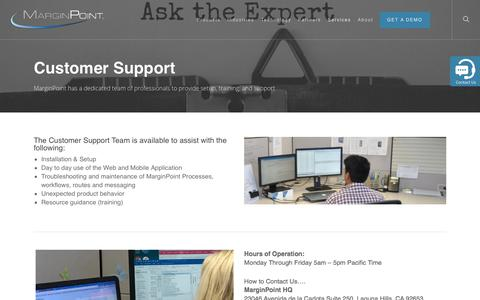 Screenshot of Support Page marginpoint.com - Customer Support - MarginPoint - captured July 13, 2018
