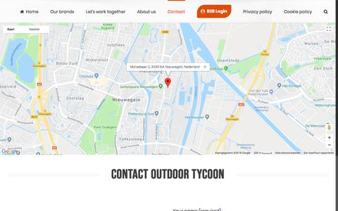 Screenshot of Contact Page outdoortycoon.com - Contact Outdoor Tycoon - Your supplier in outdoor clothing and gear in Europe. - captured July 10, 2018