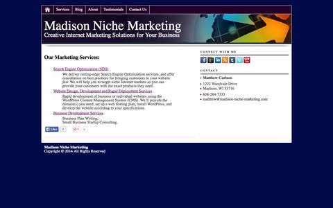Screenshot of Services Page madison-niche-marketing.com - Madison Niche Marketing Services - captured Nov. 5, 2014