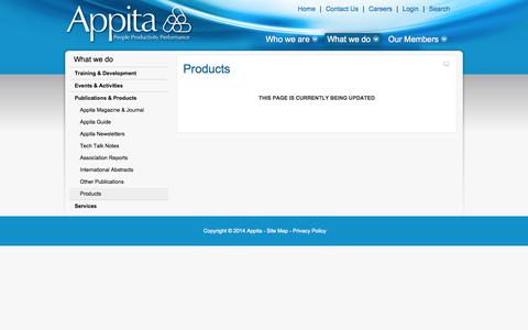 Screenshot of Products Page appita.com - Products - Appita - Australian and New Zealand Pulp and Paper Industry Association - captured Sept. 30, 2014