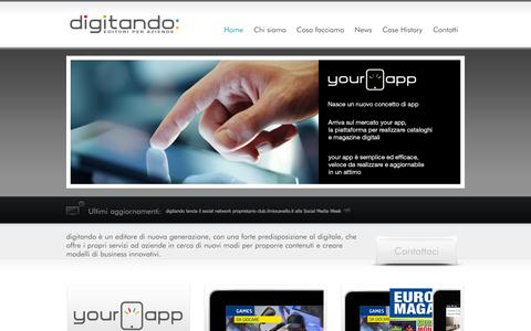Screenshot of Home Page digitando.it - digitando | editori per aziende - captured Oct. 5, 2014