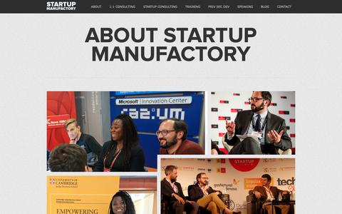 Screenshot of About Page startupmanufactory.com - Startup Consulting, Entrepreneurship Training, Private Sector Development - captured Nov. 7, 2018