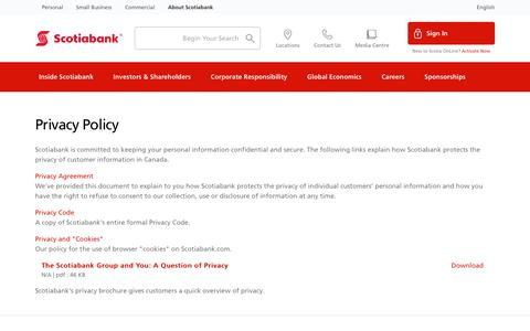 Screenshot of Privacy Page scotiabank.com - Privacy and You - captured May 17, 2018