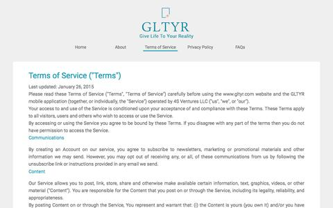 Screenshot of Terms Page gltyr.com - Create and Share Video Ads on the Go from Your Phone : Gltyr - captured Dec. 6, 2015