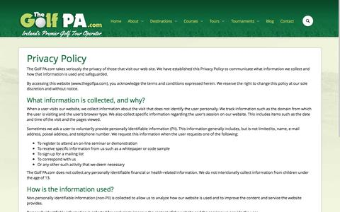 Screenshot of Privacy Page thegolfpa.com - Privacy Policy - captured Nov. 30, 2016