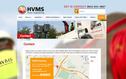 Screenshot of Contact Page hvms.co.uk - Contact - HVMS - captured July 17, 2015