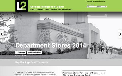Screenshot of Home Page l2thinktank.com - L2: Business Intelligence for Digital   L2: Business Intelligence for Digital - captured Sept. 12, 2014