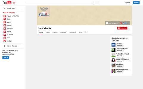 Screenshot of YouTube Page youtube.com - New Vitality  - YouTube - captured Oct. 25, 2014