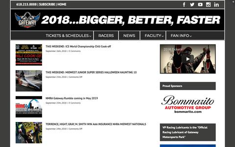 Screenshot of Press Page gatewaymsp.com - News Archive • Gateway Motorsports Park - captured Sept. 27, 2018