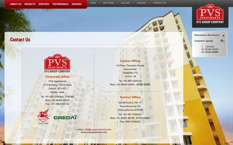 Screenshot of Contact Page pvsapartments.com - PVS Apartments Kerala- Builders cochin, Flats Calicut, Villas in Kerala, Bungalows Calicut, Real Estate Cochin, Luxury Apartments Calicut - captured Sept. 27, 2014