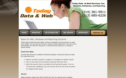 Screenshot of Pricing Page todaydata.com - Rates for web, database, and reporting solutions, Today Data & Web - captured Oct. 7, 2014