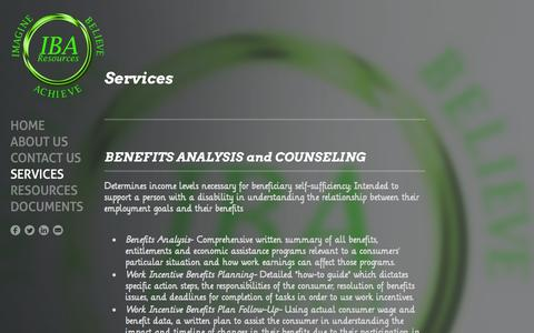 Screenshot of Services Page ibaresources.com - Services - IBA Resources - captured Oct. 3, 2014