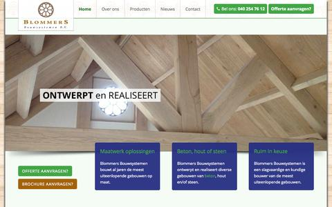 Screenshot of Home Page blommers.nl - Home - Blommers Bouwsystemen - captured June 18, 2015