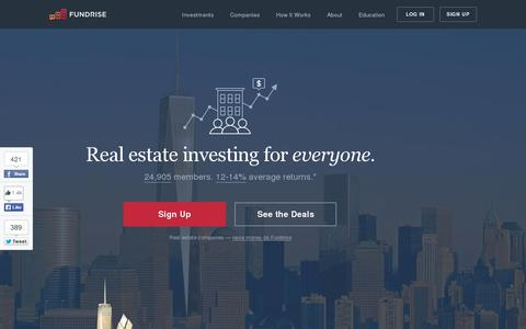Screenshot of Home Page fundrise.com - Fundrise | Real estate crowdfunding and investment for everyone - captured July 11, 2014