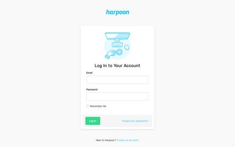 Screenshot of Login Page harpoonapp.com - Login  | Harpoon - captured June 8, 2019