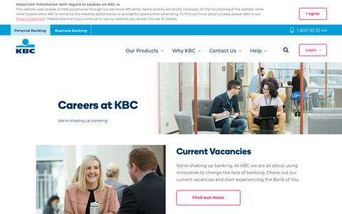 Screenshot of Jobs Page kbc.ie - Careers at KBC Bank - KBC - The Bank of You - captured Oct. 14, 2018