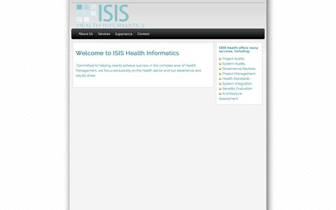 Screenshot of Home Page isishealth.net - ISIS Health Informatics - captured Oct. 4, 2014