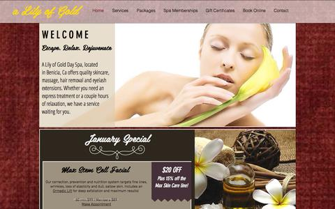 Screenshot of Home Page alilyofgoldspa.com - A Lily of Gold Day Spa | Escape.Relax.Rejuvenate - captured Jan. 26, 2016