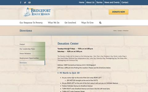 Screenshot of Maps & Directions Page bridgeportrescuemission.org - Bridgeport Rescue Mission   –  Directions - captured Sept. 30, 2014