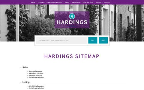 Screenshot of Site Map Page hardings.co.uk - Hardings Sitemap - captured Sept. 27, 2018