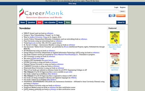 Screenshot of Press Page careermonk.com - Newsletter - CareerMonk Publications - Interview Questions | Books - captured Nov. 3, 2014