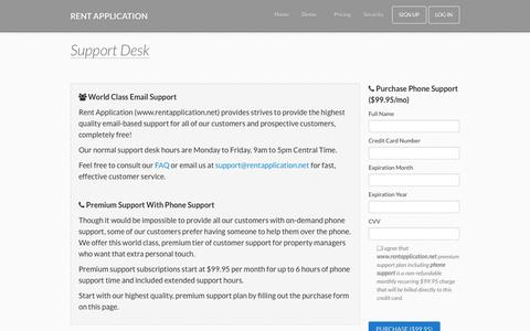 Screenshot of Support Page rentapplication.net - Rental Application Templates | Free Online Rent Application - captured Oct. 9, 2014