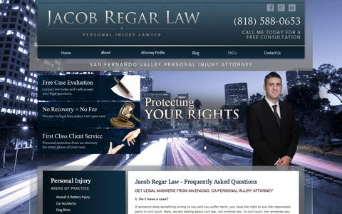 Screenshot of FAQ Page jacobregarlaw.com - FAQ | San Fernando Valley Personal Injury Attorney - captured June 13, 2016