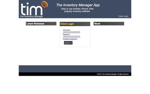 Screenshot of Login Page theinventorymanager.co.uk - TIM The Inventory Manager - captured June 15, 2017