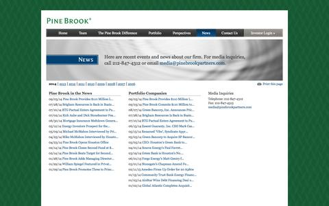Screenshot of Press Page pinebrookpartners.com - News | Pine Brook Partners | New York-based investment firm that provides business building - captured Oct. 2, 2014