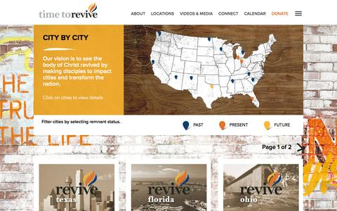 Screenshot of Locations Page timetorevive.com - Cities | Time To Revive - captured Aug. 16, 2016
