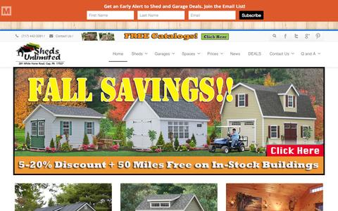 Screenshot of Home Page shedsunlimited.net - Amish Storage Sheds, Wood Sheds, Vinyl Storage Shed Kit, Prefab Vinyl Garages PA, Garden Sheds and Barns, Two Story Barns, Portable Shed Delaware, Portable Chicken Coops, Outbuildings - captured Oct. 1, 2015
