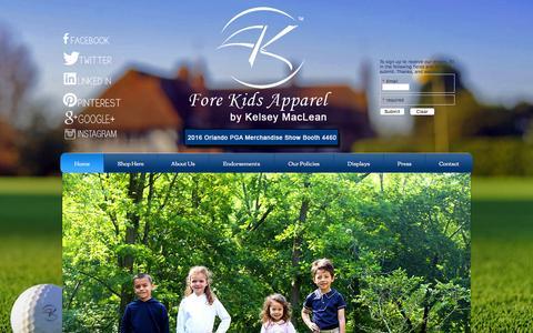 Screenshot of Home Page forekidsgolf.com - Fore Kids Apparel - captured Feb. 10, 2016
