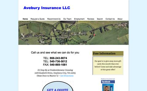 Screenshot of Home Page aveburyinsurance.com - Allstate Insurance Agency - captured Oct. 4, 2014