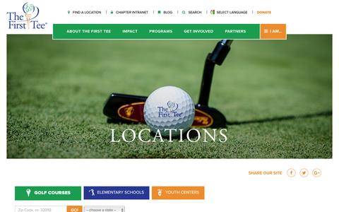 Screenshot of Locations Page thefirsttee.org - Locations - The First Tee - captured Nov. 30, 2016