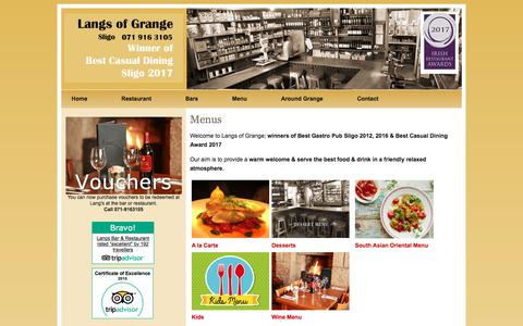 Screenshot of Menu Page langs.ie - Langs Bar and Restaurant - The best home cooked authentic food in the Northwest of Ireland is Langs in Grange, Co Sligo - captured July 1, 2018