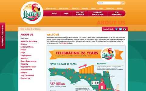 Screenshot of About Page flalottery.com - Florida Lottery - Welcome - captured Oct. 29, 2014