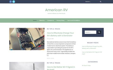 Screenshot of Home Page americanrv.biz - American RV - Home is Where You Park the RV - captured Oct. 3, 2018