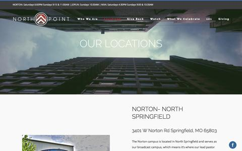 Screenshot of Locations Page northpointchurch.tv - Church Locations - Southwest MO | North Point Church - captured Jan. 15, 2017