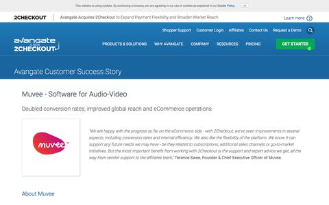 Screenshot of Case Studies Page avangate.com - Muvee - Software for Audio-Video - captured April 13, 2018