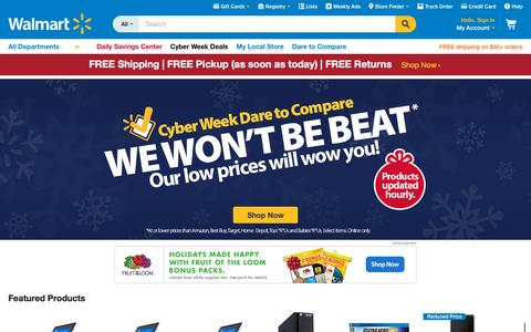 Screenshot of Home Page walmart.com captured Dec. 3, 2015