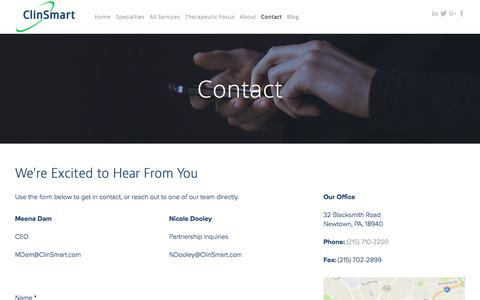 Screenshot of Contact Page clinsmart.com - Contact | ClinSmart - captured Aug. 6, 2017