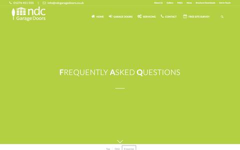 Screenshot of FAQ Page ndcgaragedoors.co.uk - Garage Doors FAQ's   Installation, Service & Garage Door Repair FAQ's   UK - captured Nov. 2, 2017