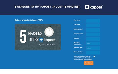 Screenshot of Landing Page kapost.com - 5 Reasons to Try Kapost (in just 15 minutes) - captured March 25, 2016