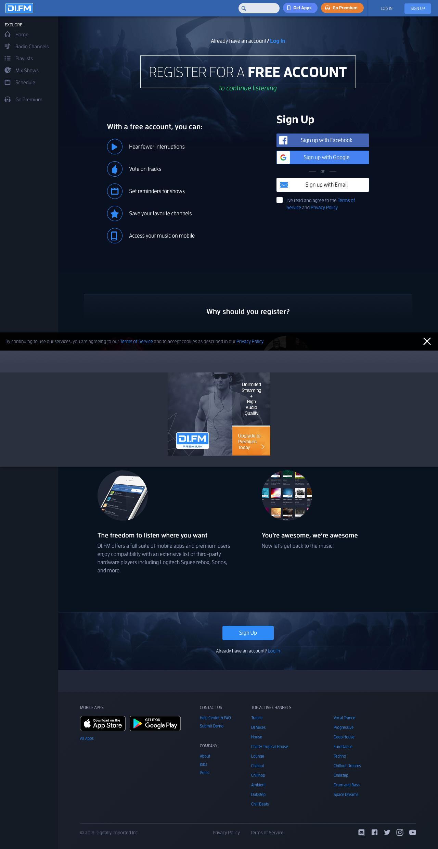 Screenshot of di.fm - DI.FM - addictive electronic music - captured Aug. 18, 2019